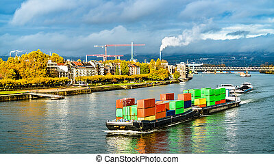 Container ship on the Rhine River in Mainz, Germany