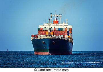 Container ship - Container cargo ship in ocean.