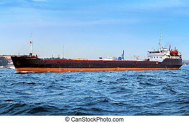 Container ship in Bosphorus Istanbul, Turkey