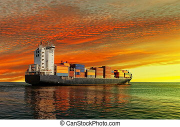Container Ship - Container ship at sunset in the sea.