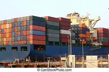 Container Ship close up in hong kong container station