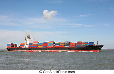 container ship - container vessel at sea