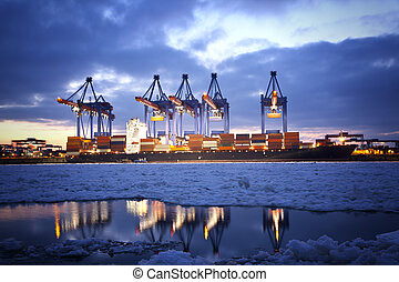 Container Ship in the harbour of Hamburg.