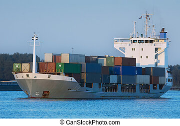 container ship - a container ship in the harbor