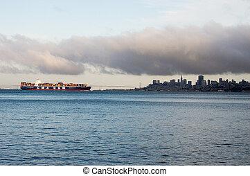 Container ship SFO Skyline