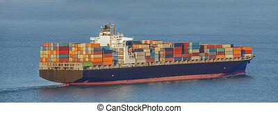 container ship - cargo container ship in mediterranean coast...