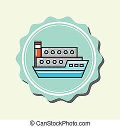 container ship transport cartoon emblem vector illustration