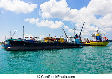 Container ship with a crane in the port