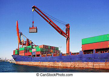 Container ship with crane