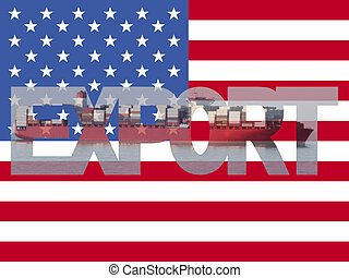 Container ship with export text and American flag illustration