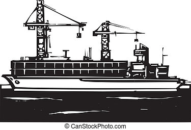 Container Ship - Woodcut Style image of a container ship and...