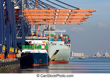 Container ships docked in the Port of Rotterdam, The Netherlands.