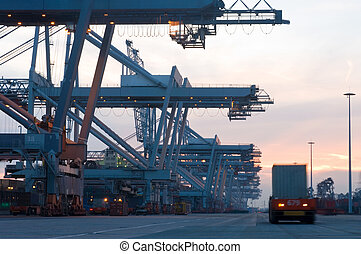 Container Terminal at dusk - The automated loading and ...