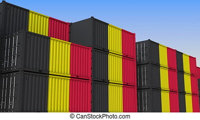 Container terminal. Export or import related 3D