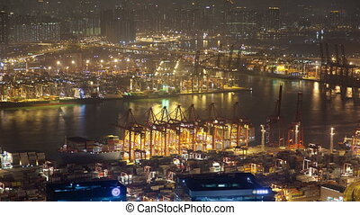 Container Terminals in Hong Kong at night time lapse