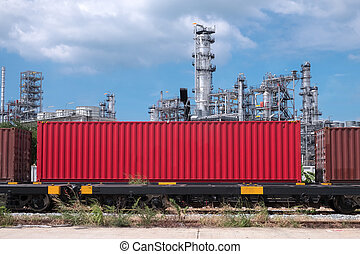 Container train stopping in industry plant