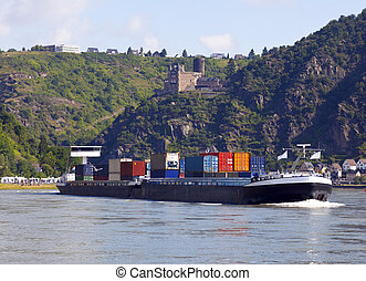 container transport on the rhine germany