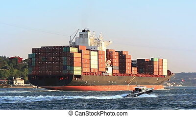 Cargo ship full of containers sailing from Black Sea.