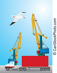 Container transportation - Truck picking up a container in...