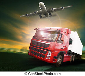 container truck and freight cargo plane flying above in land...