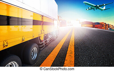 container truck and freight cargo plane flying over ship yard for logistic and transport business