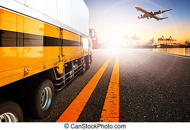 container truck and ship in import, export harbor port with cargo freight plane flying use for transport and logistic ,shipping business background, backdrop