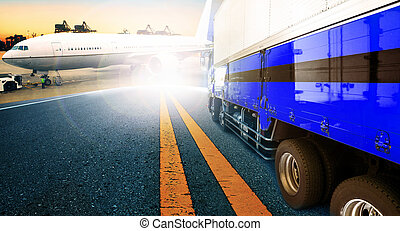 container truck and ship in import,export harbor port with cargo freight plane flying use for transport and logistic ,shipping business background,backdrop
