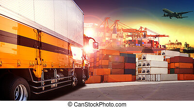 container truck in shipping port ,container dock and freight...