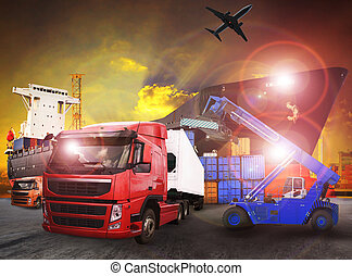 container truck in shipping port use for transport, logistic and cargo freight import - export industry