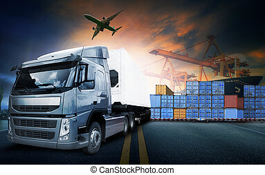 container truck ,ship in port and freight cargo plane in...