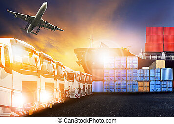 container truck ,ship in port and freight cargo plane logistic and transport business theme