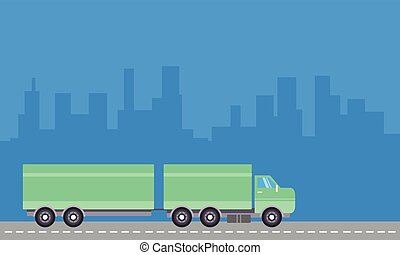 Container truck with blue backgrounds