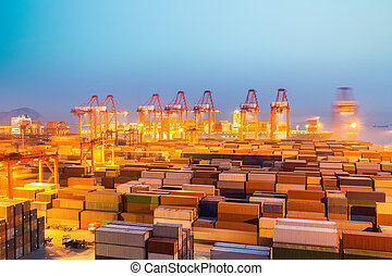 container wharf in nightfall