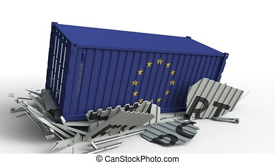 Container with EXPORT text being crashed with container with flag of the European Union EU, conceptual 3D animation