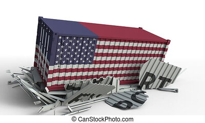Container with EXPORT text being crashed with container with flag of the USA, conceptual 3D animation