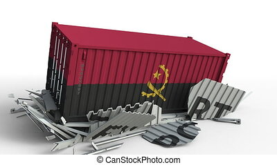 Container with flag of Angola breaking container with EXPORT...