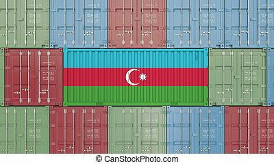 Container with flag of Azerbaijan. Azerbaijani goods related conceptual 3D rendering
