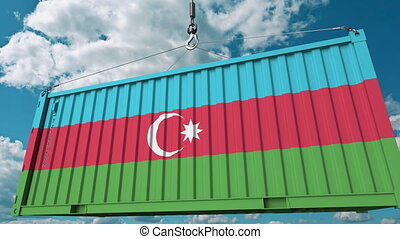 Container with flag of Azerbaijan. Azerbaijani import or export related conceptual 3D animation