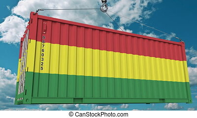Container with flag of Bolivia. Bolivian import or export related conceptual 3D animation
