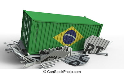 Container with flag of Brazil breaking container with EXPORT...