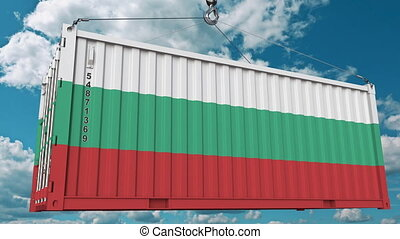 Container with flag of Bulgaria. Bulgarian import or export related conceptual 3D animation