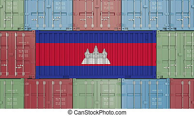 Container with flag of Cambodia. Cambodian goods related conceptual 3D rendering