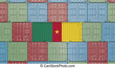 Container with flag of Cameroon. Cameroonian goods related...