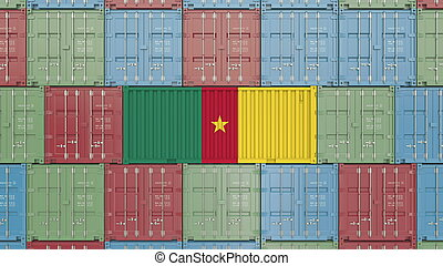 Container with flag of Cameroon. Cameroonian goods related conceptual 3D rendering