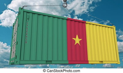 Container with flag of Cameroon. Cameroonian import or...