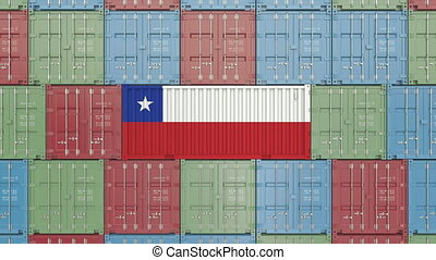 Container with flag of Chile. Chilean import or export...