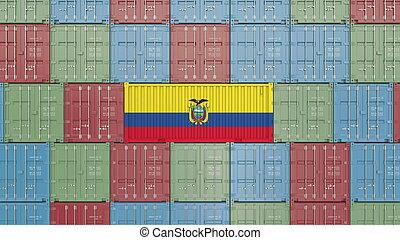 Container with flag of Ecuador. Ecuadorian goods related conceptual 3D rendering