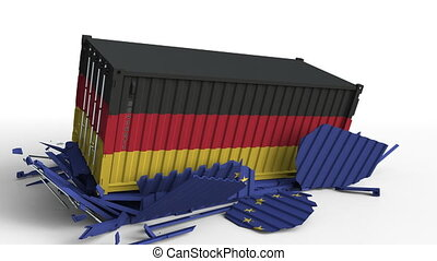 Container with flag of Germany breaks cargo container with...