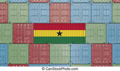 Container with flag of Ghana. Ghanaian goods related...