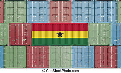 Container with flag of Ghana. Ghanaian goods related conceptual 3D rendering